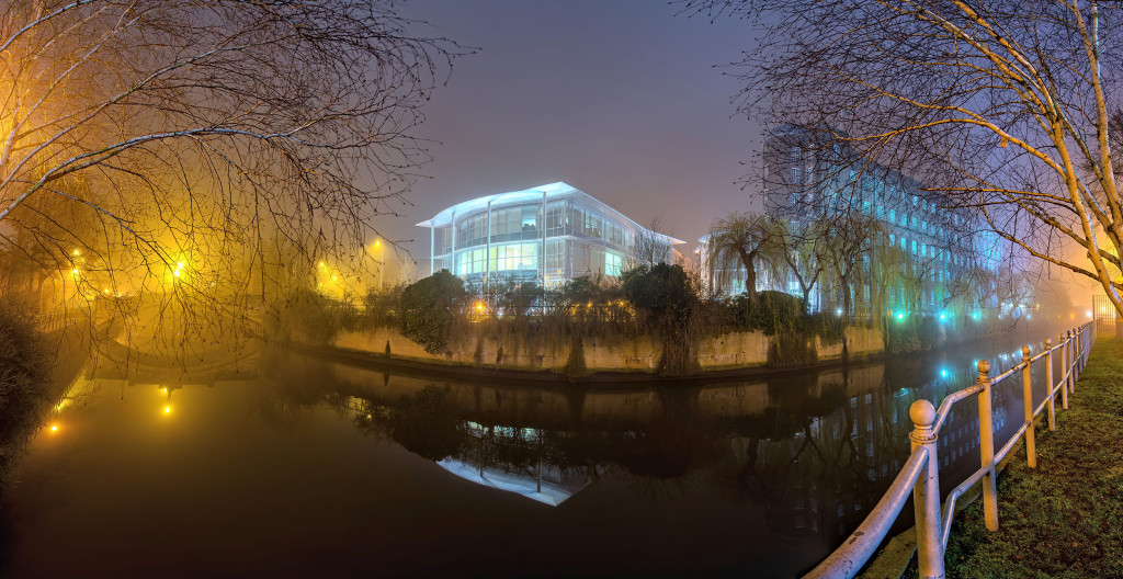 2014.01.20 - Foggy Norwich at Night - St James Mill-02 - Panorama